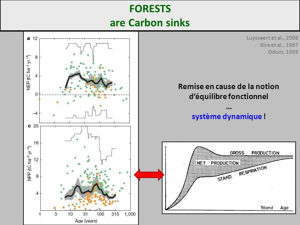 Luyssaert et al., 2008 Kira et al., 1967 Odum, 1969 FORESTS are Carbon sinks Remise en cause de la notion déquilibre fonctionnel … système dynamique !
