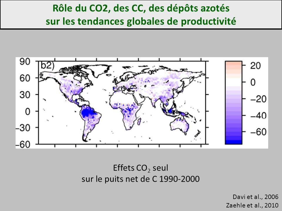 Rôle du CO2, des CC, des dépôts azotés sur les tendances globales de productivité Davi et al., 2006 Zaehle et al., 2010 Effets CO 2 seul sur le puits net de C 1990-2000