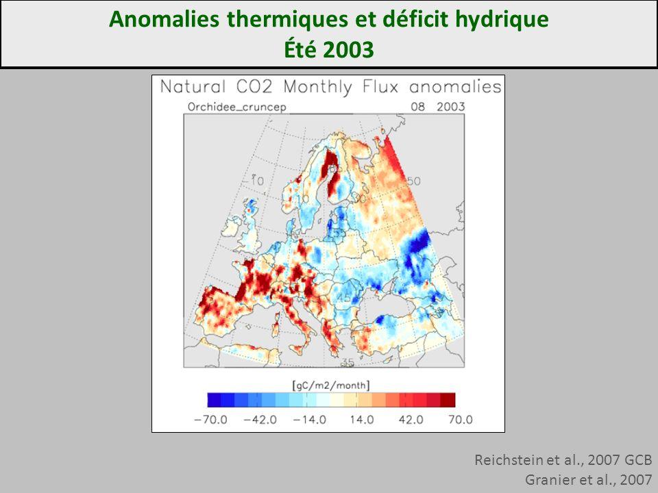 Reichstein et al., 2007 GCB Granier et al., 2007 Anomalies thermiques et déficit hydrique Été 2003