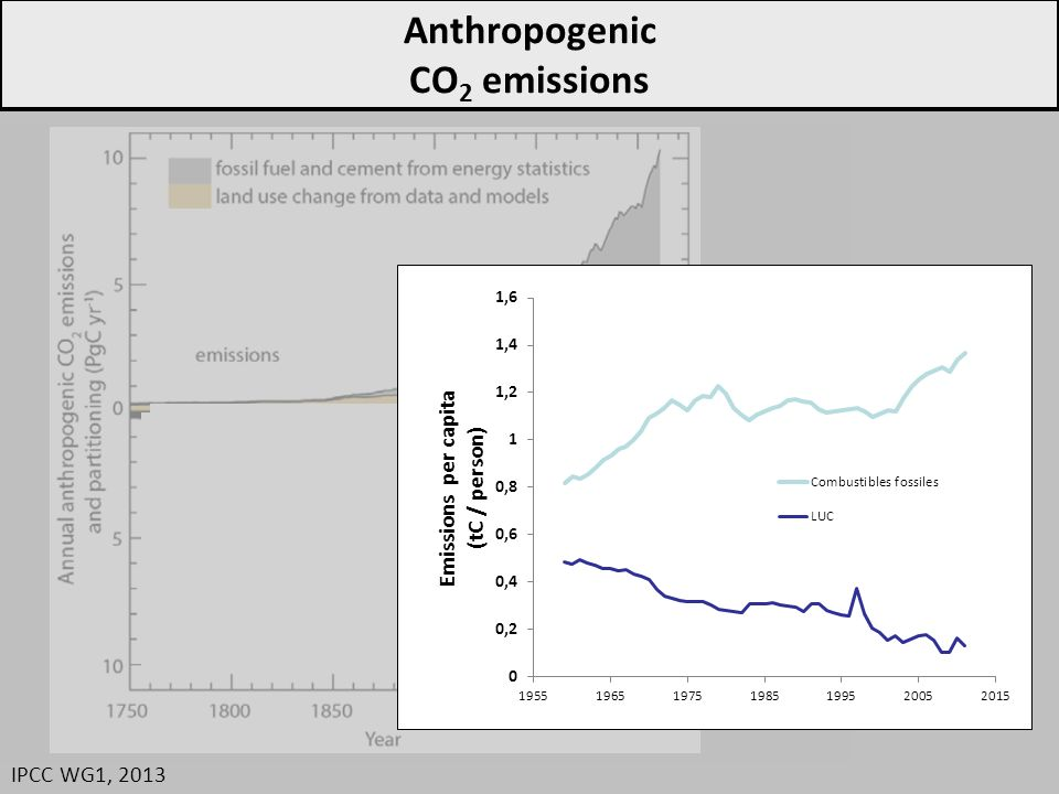 Anthropogenic CO 2 emissions IPCC WG1, 2013