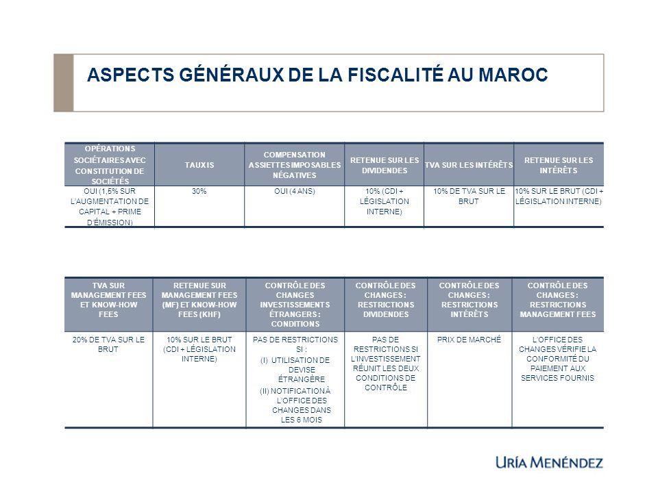 ASPECTS GÉNÉRAUX DE LA FISCALITÉ AU MAROC OPÉRATIONS SOCIÉTAIRES AVEC CONSTITUTION DE SOCIÉTÉS TAUX IS COMPENSATION ASSIETTES IMPOSABLES NÉGATIVES RET