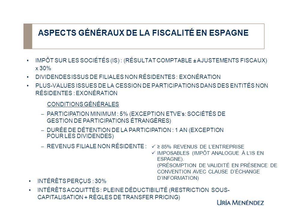 ASPECTS GÉNÉRAUX DE LA FISCALITÉ EN ESPAGNE IMPÔT SUR LES SOCIÉTÉS (IS) : (RÉSULTAT COMPTABLE ± AJUSTEMENTS FISCAUX) x 30% DIVIDENDES ISSUS DE FILIALE