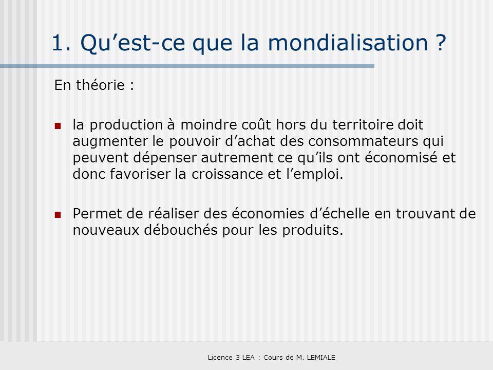 Licence 3 LEA : Cours de M. LEMIALE 1. Quest-ce que la mondialisation ? En théorie : la production à moindre coût hors du territoire doit augmenter le