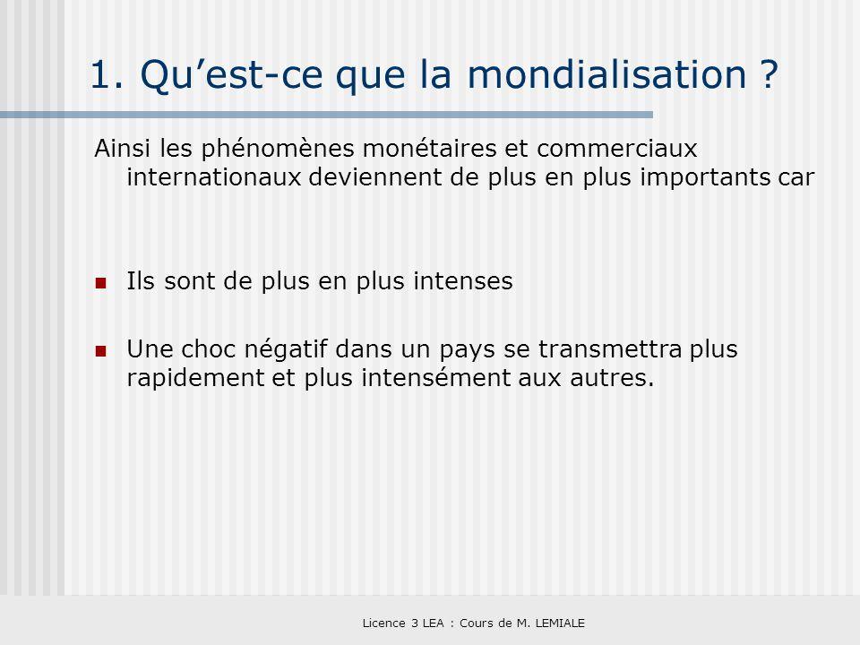 Licence 3 LEA : Cours de M. LEMIALE 1. Quest-ce que la mondialisation ? Ainsi les phénomènes monétaires et commerciaux internationaux deviennent de pl