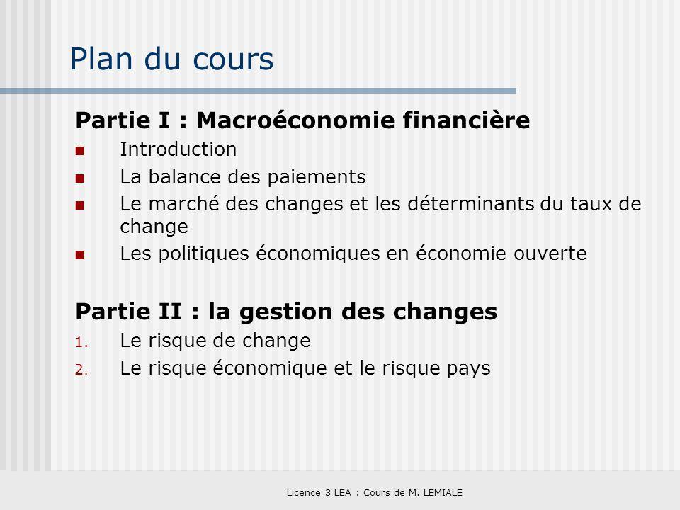 Licence 3 LEA : Cours de M. LEMIALE Plan du cours Partie I : Macroéconomie financière Introduction La balance des paiements Le marché des changes et l
