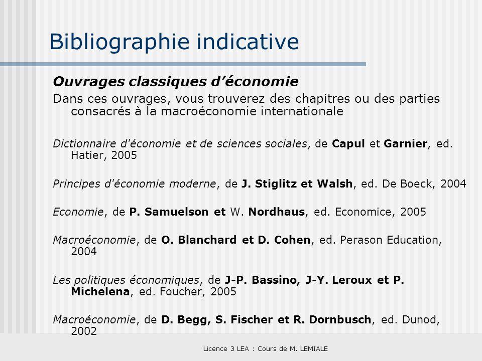 Licence 3 LEA : Cours de M. LEMIALE Bibliographie indicative Ouvrages classiques déconomie Dans ces ouvrages, vous trouverez des chapitres ou des part