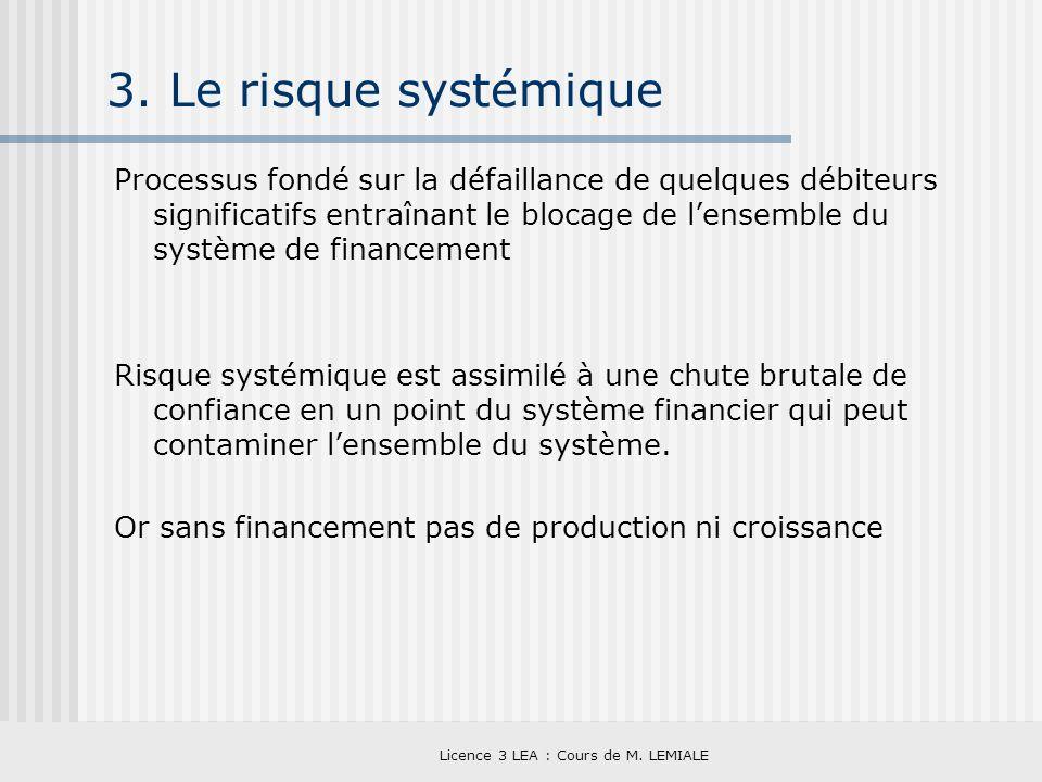 Licence 3 LEA : Cours de M. LEMIALE 3. Le risque systémique Processus fondé sur la défaillance de quelques débiteurs significatifs entraînant le bloca