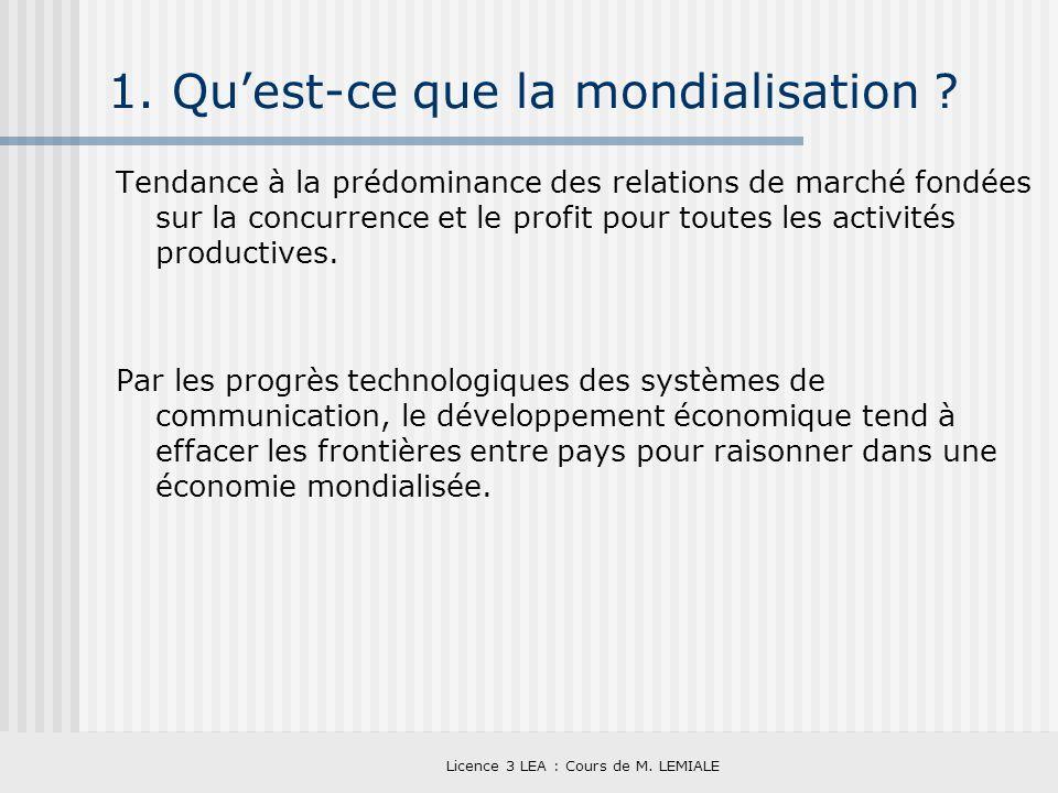 Licence 3 LEA : Cours de M. LEMIALE 1. Quest-ce que la mondialisation ? Tendance à la prédominance des relations de marché fondées sur la concurrence