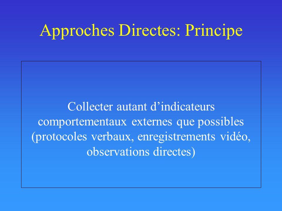 Approches Directes: Principe Collecter autant dindicateurs comportementaux externes que possibles (protocoles verbaux, enregistrements vidéo, observations directes)