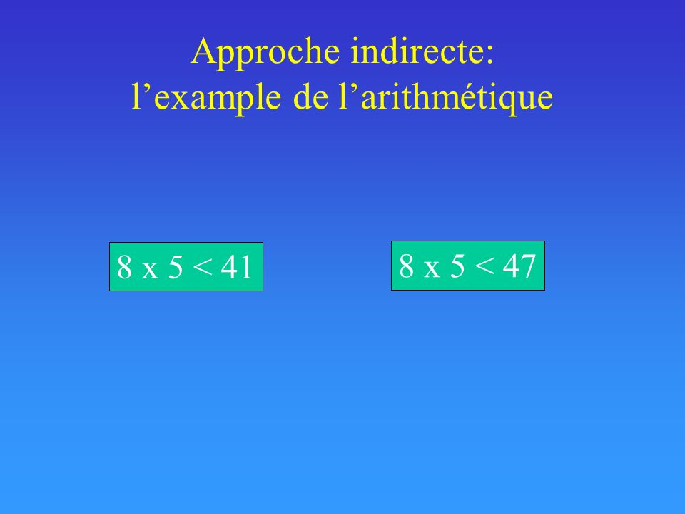Approche indirecte: lexample de larithmétique 8 x 5 < 41 8 x 5 < 47