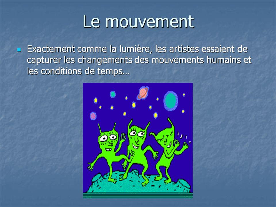Le mouvement Exactement comme la lumière, les artistes essaient de capturer les changements des mouvements humains et les conditions de temps… Exactement comme la lumière, les artistes essaient de capturer les changements des mouvements humains et les conditions de temps…