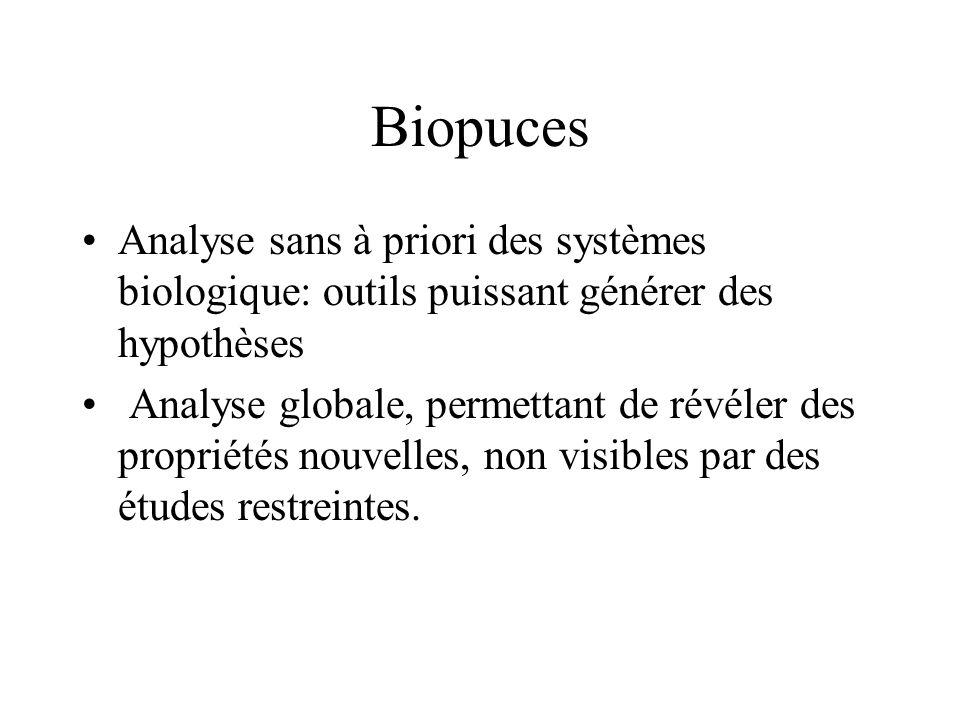 Biopuces Analyse sans à priori des systèmes biologique: outils puissant générer des hypothèses Analyse globale, permettant de révéler des propriétés n