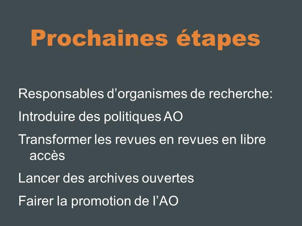 Prochaines étapes Responsables dorganismes de recherche: Introduire des politiques AO Transformer les revues en revues en libre accès Lancer des archives ouvertes Fairer la promotion de lAO