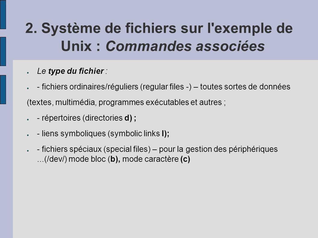 2. Système de fichiers sur l'exemple de Unix : Commandes associées Le type du fichier : - fichiers ordinaires/réguliers (regular files -) – toutes sor