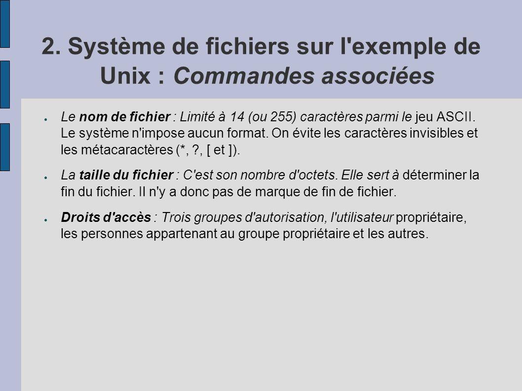2. Système de fichiers sur l'exemple de Unix : Commandes associées Le nom de fichier : Limité à 14 (ou 255) caractères parmi le jeu ASCII. Le système