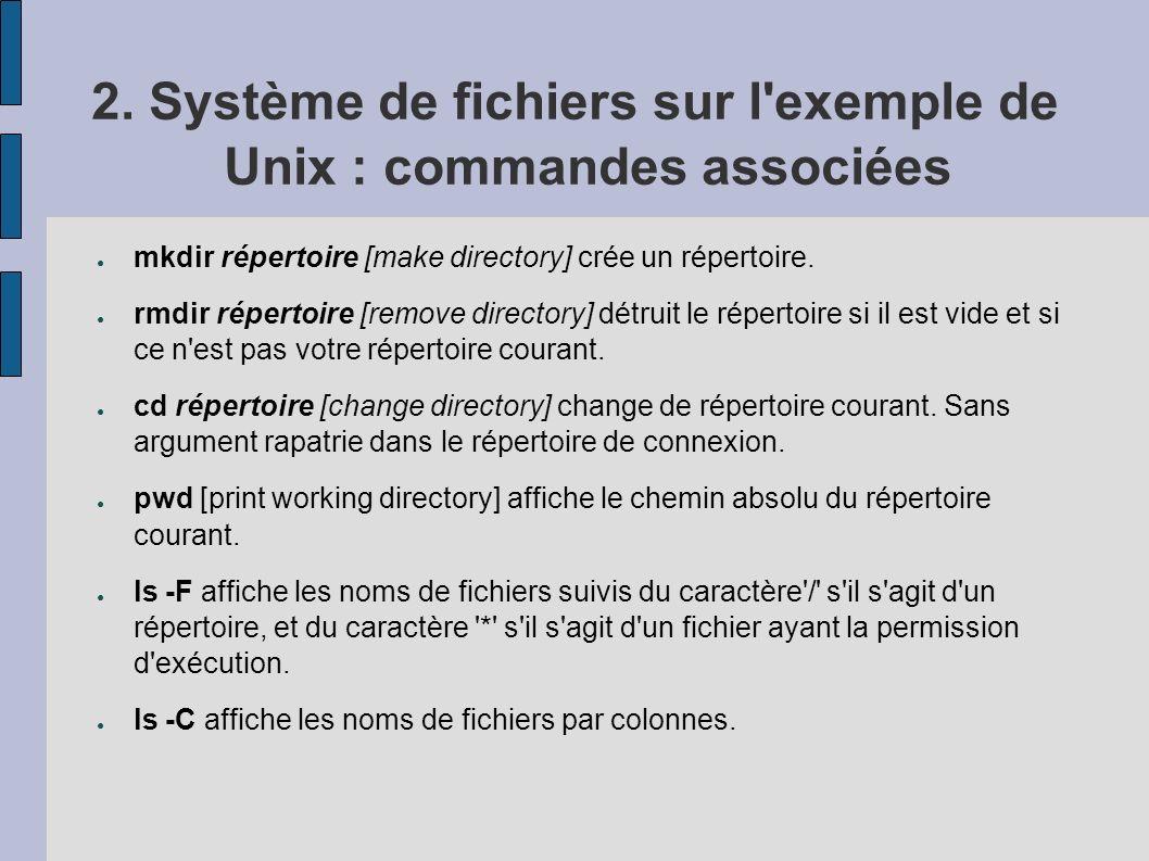 2. Système de fichiers sur l'exemple de Unix : commandes associées mkdir répertoire [make directory] crée un répertoire. rmdir répertoire [remove dire