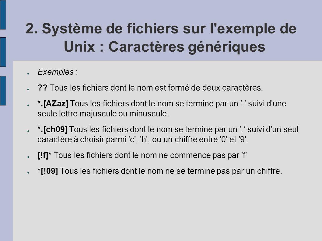 2. Système de fichiers sur l'exemple de Unix : Caractères génériques Exemples : ?? Tous les fichiers dont le nom est formé de deux caractères. *.[AZaz