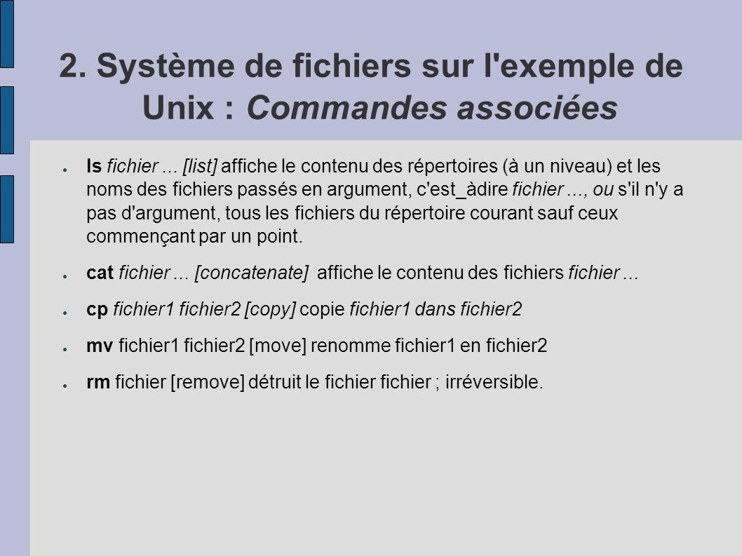 2. Système de fichiers sur l'exemple de Unix : Commandes associées ls fichier... [list] affiche le contenu des répertoires (à un niveau) et les noms d