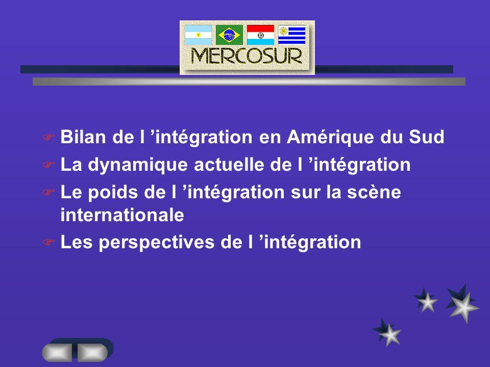 MERCUR Bilan de l intégration en Amérique du Sud La dynamique actuelle de l intégration Le poids de l intégration sur la scène internationale Les perspectives de l intégration