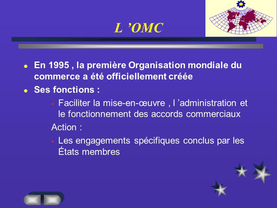 L OMC En 1995, la première Organisation mondiale du commerce a été officiellement créée Ses fonctions : Faciliter la mise-en-œuvre, l administration et le fonctionnement des accords commerciaux Action : Les engagements spécifiques conclus par les États membres
