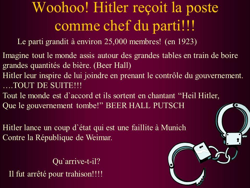 Résumé :Adolf Hitler Expérience: Soldat en WWI Individu fort et charismatique Orateur publique très talentueux J`ai un désir d`améliorer la situation