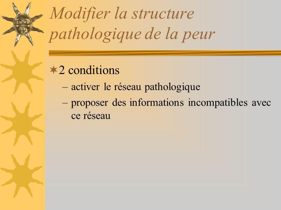 Modifier la structure pathologique de la peur 2 conditions –activer le réseau pathologique –proposer des informations incompatibles avec ce réseau