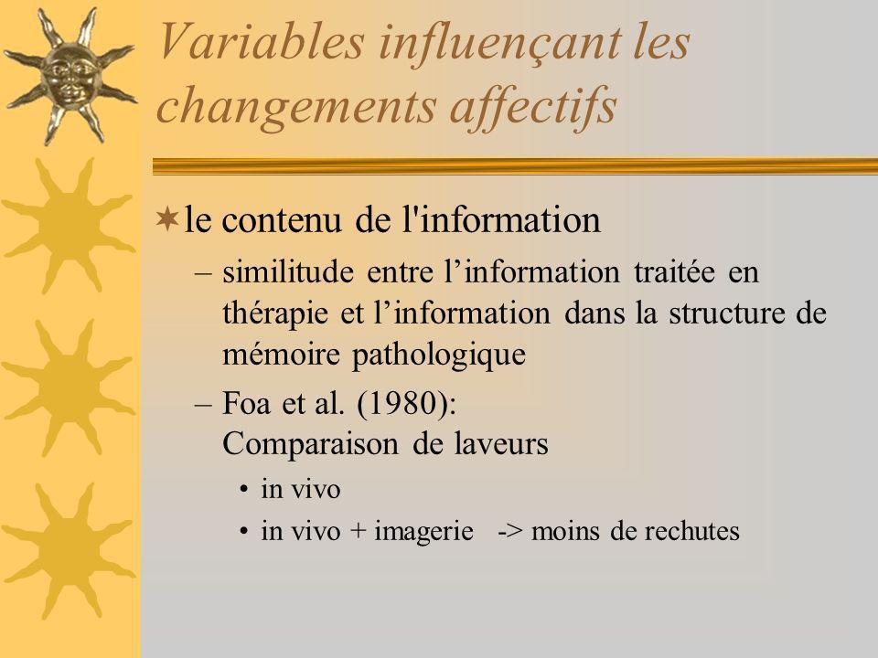Variables influençant les changements affectifs le contenu de l information –similitude entre linformation traitée en thérapie et linformation dans la structure de mémoire pathologique –Foa et al.