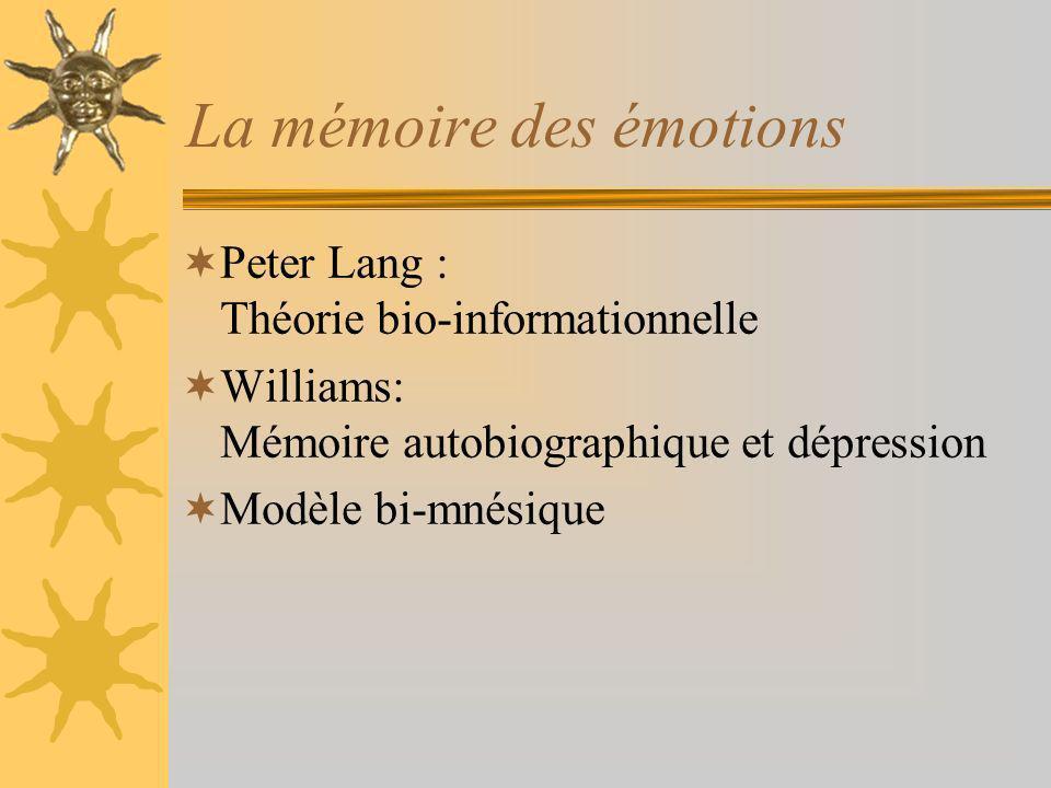 La mémoire des émotions Peter Lang : Théorie bio-informationnelle Williams: Mémoire autobiographique et dépression Modèle bi-mnésique