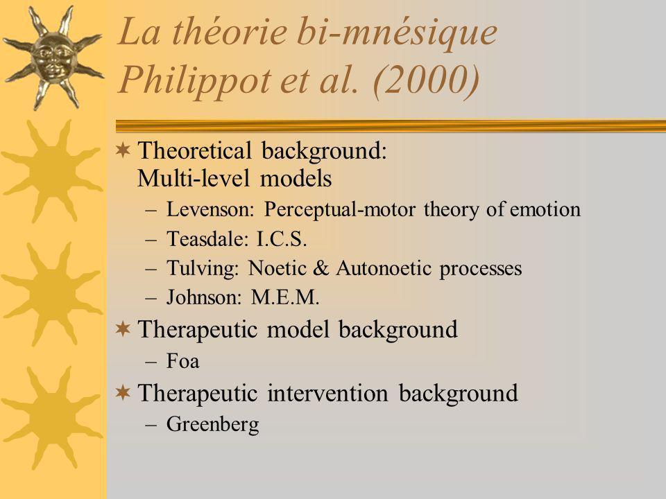 La théorie bi-mnésique Philippot et al. (2000) Theoretical background: Multi-level models –Levenson: Perceptual-motor theory of emotion –Teasdale: I.C