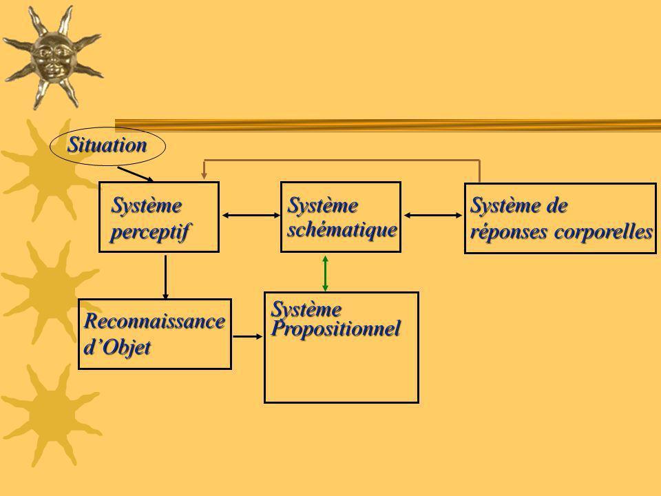 SystèmePropositionnel ReconnaissancedObjet Systèmeperceptif Système de réponses corporelles Systèmeschématique Situation