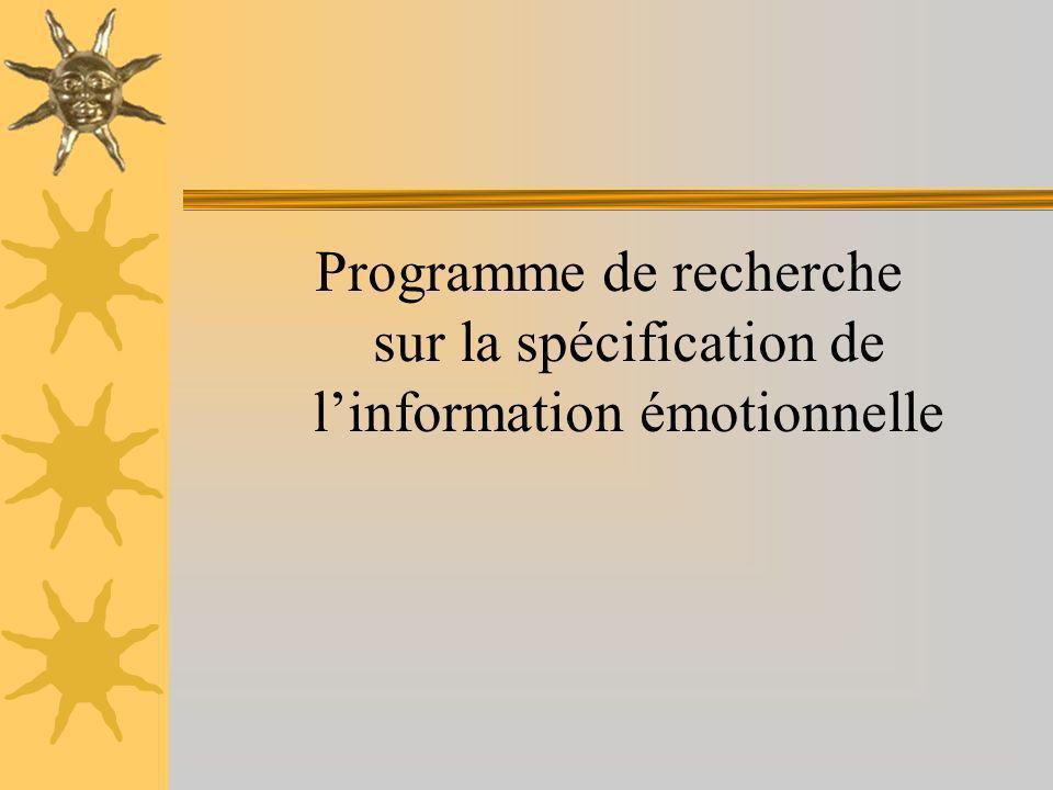 Programme de recherche sur la spécification de linformation émotionnelle