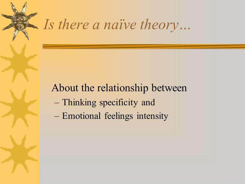 Is there a naïve theory… About the relationship between –Thinking specificity and –Emotional feelings intensity