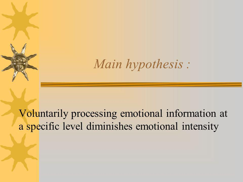 Main hypothesis : Voluntarily processing emotional information at a specific level diminishes emotional intensity