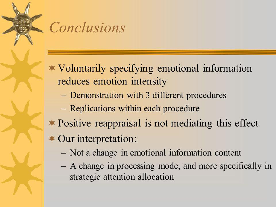 Conclusions Voluntarily specifying emotional information reduces emotion intensity –Demonstration with 3 different procedures –Replications within eac