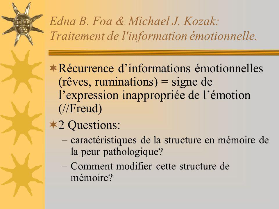 Edna B. Foa & Michael J. Kozak: Traitement de l'information émotionnelle. Récurrence dinformations émotionnelles (rêves, ruminations) = signe de lexpr