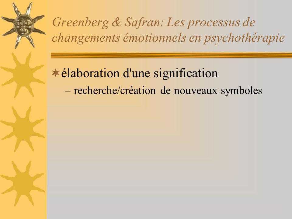 Greenberg & Safran: Les processus de changements émotionnels en psychothérapie élaboration d une signification –recherche/création de nouveaux symboles