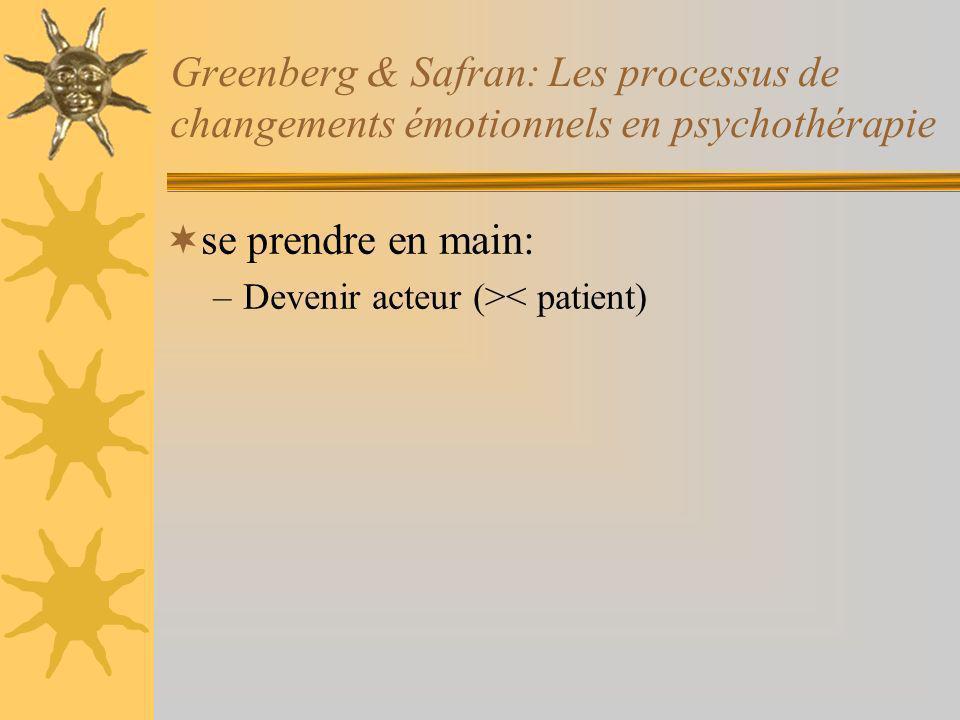 Greenberg & Safran: Les processus de changements émotionnels en psychothérapie se prendre en main: –Devenir acteur (>< patient)