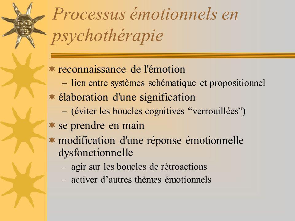 Processus émotionnels en psychothérapie reconnaissance de l émotion –lien entre systèmes schématique et propositionnel élaboration d une signification –(éviter les boucles cognitives verrouillées) se prendre en main modification d une réponse émotionnelle dysfonctionnelle – agir sur les boucles de rétroactions – activer dautres thèmes émotionnels