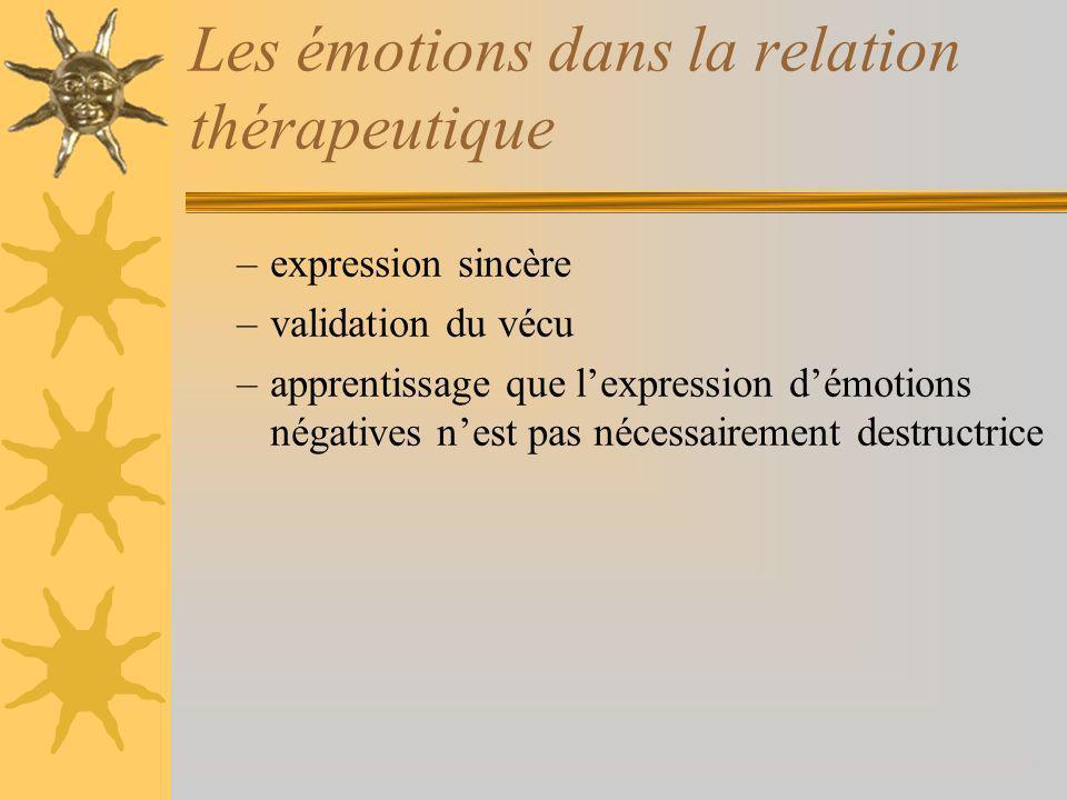 Les émotions dans la relation thérapeutique –expression sincère –validation du vécu –apprentissage que lexpression démotions négatives nest pas nécessairement destructrice