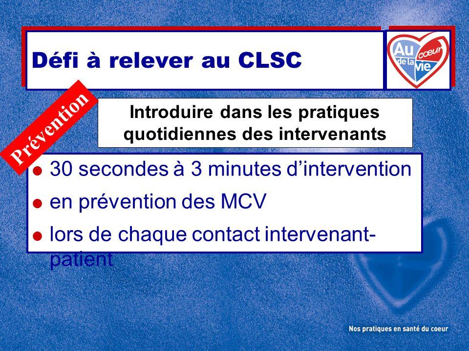 30 secondes à 3 minutes dintervention en prévention des MCV lors de chaque contact intervenant- patient Introduire dans les pratiques quotidiennes des