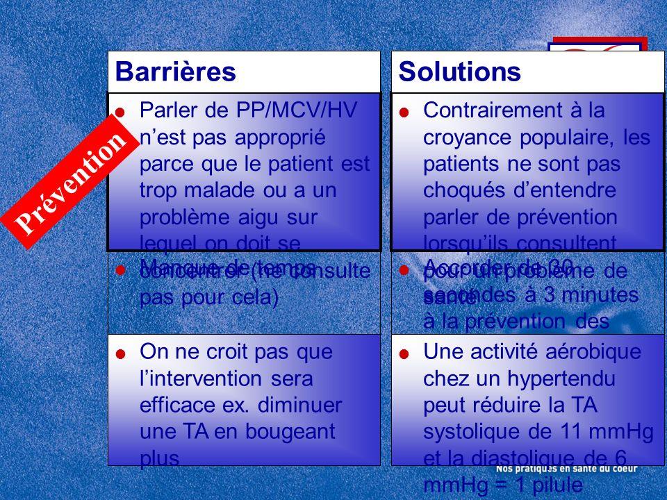 Parler de PP/MCV/HV nest pas approprié parce que le patient est trop malade ou a un problème aigu sur lequel on doit se concentrer (ne consulte pas po