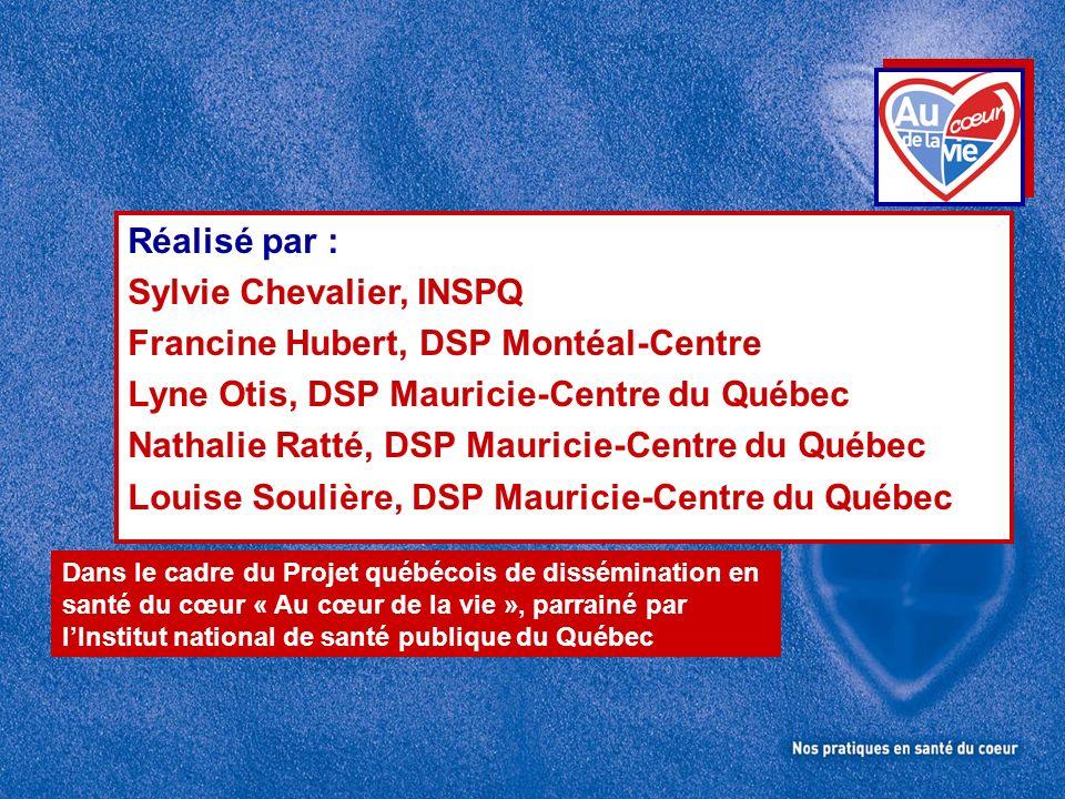 Réalisé par : Sylvie Chevalier, INSPQ Francine Hubert, DSP Montéal-Centre Lyne Otis, DSP Mauricie-Centre du Québec Nathalie Ratté, DSP Mauricie-Centre