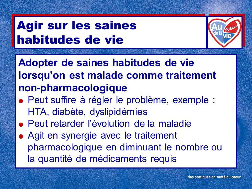 Agir sur les saines habitudes de vie Adopter de saines habitudes de vie lorsquon est malade comme traitement non-pharmacologique Peut suffire à régler
