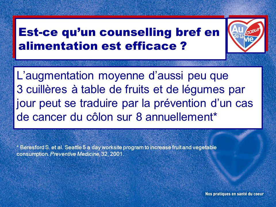 Laugmentation moyenne daussi peu que 3 cuillères à table de fruits et de légumes par jour peut se traduire par la prévention dun cas de cancer du côlo