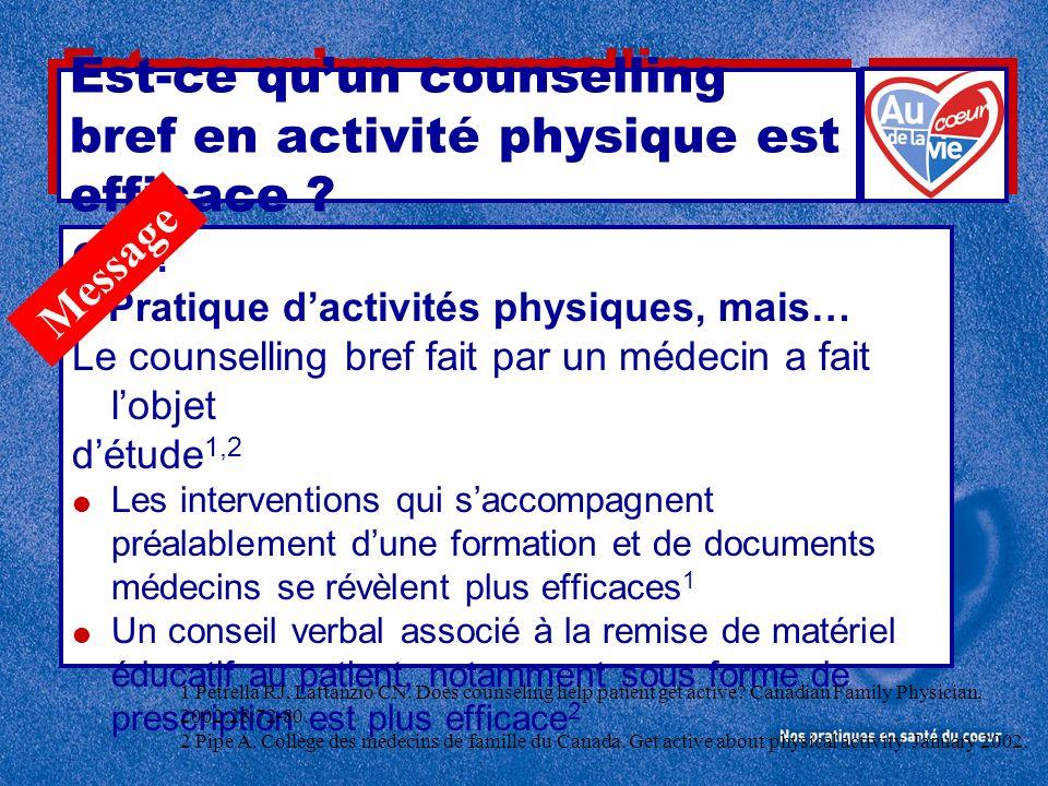 Est-ce quun counselling bref en activité physique est efficace ? OUI ! ? Pratique dactivités physiques, mais… Le counselling bref fait par un médecin
