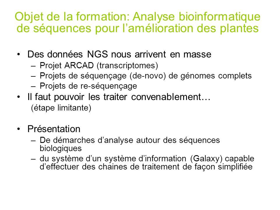 Des données NGS nous arrivent en masse –Projet ARCAD (transcriptomes) –Projets de séquençage (de-novo) de génomes complets –Projets de re-séquençage I