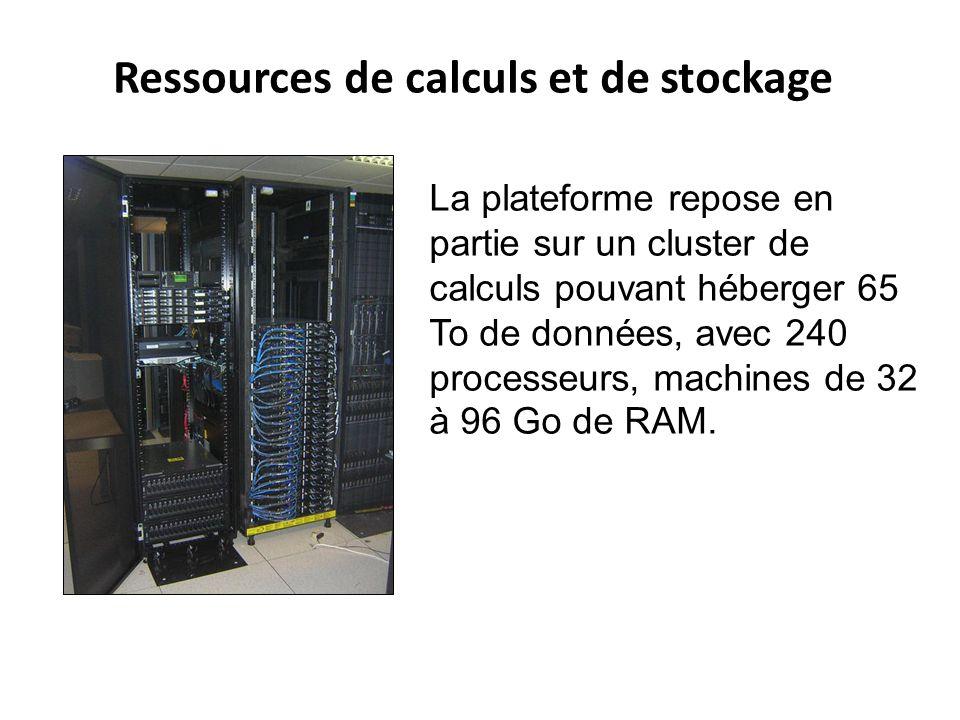 Ressources de calculs et de stockage La plateforme repose en partie sur un cluster de calculs pouvant héberger 65 To de données, avec 240 processeurs,