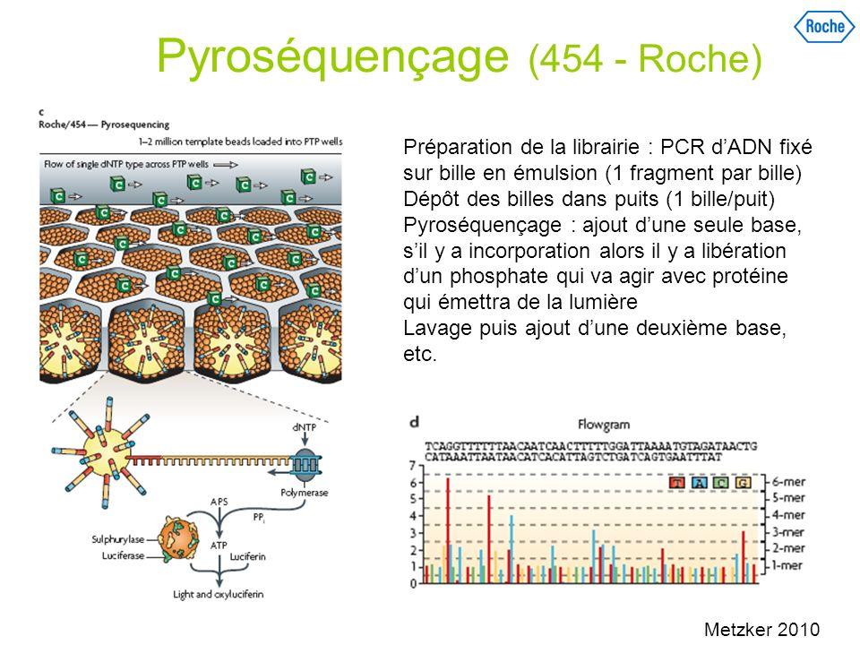Séquençage en temps réel Utilisation de terminateurs réversibles (Solexa/ Illumina) Tan 2006, Metzker2010 Extrémité 3 protégée - Ajoût dun seul dNTP, identifié par fluorescence Déprotection et élimination de la fluorescence avant nouvel ajoût de dNTPS