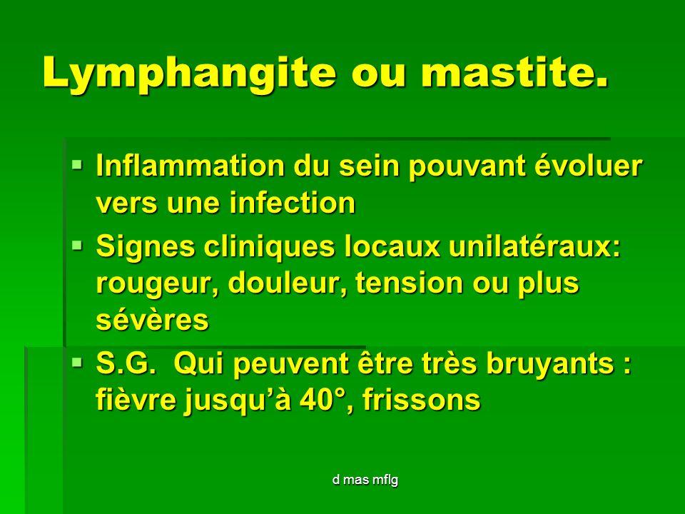d mas mflg Lymphangite ou mastite. Inflammation du sein pouvant évoluer vers une infection Inflammation du sein pouvant évoluer vers une infection Sig