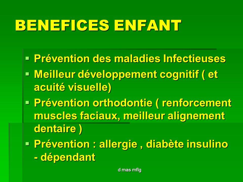 d mas mflg BENEFICES ENFANT Prévention des maladies Infectieuses Prévention des maladies Infectieuses Meilleur développement cognitif ( et acuité visu